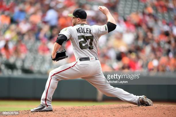 Shawn Kelley of the Washington Nationals pitches during a baseball game against the Baltimore Orioles at Oriole Park at Camden Yards on May 28 2018...