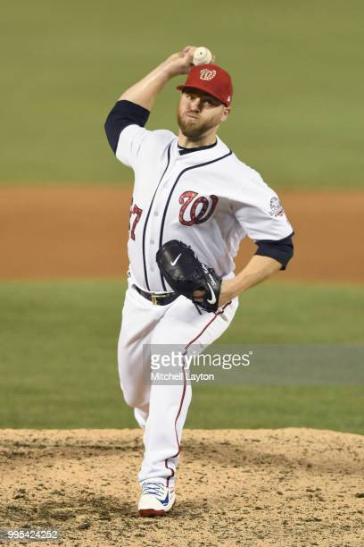 Shawn Kelley of the Washington Nationals pitches during a baseball game against the Boston Red Sox at Nationals Park on July 2 2018 in Washington DC...