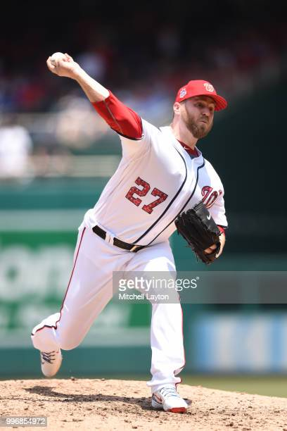 Shawn Kelley of the Washington Nationals pitches during a baseball game against the Boston Red Sox at Nationals Park on July 4 2018 in Washington DC...