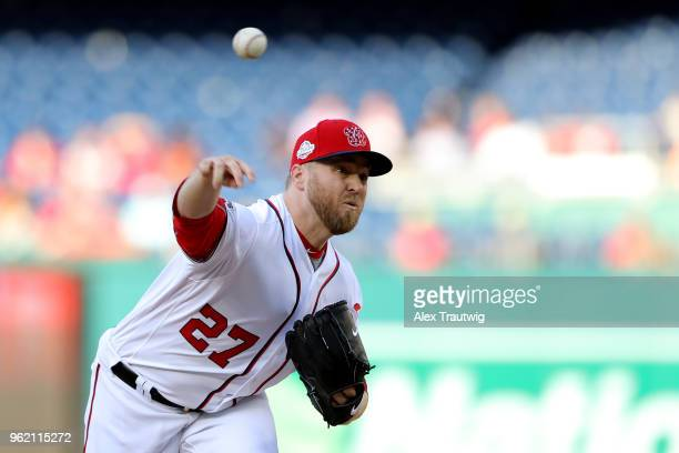 Shawn Kelley of the Washington Nationals pitches during a game against the San Diego Padres at Nationals Park on Wednesday May 23 2018 in Washington...