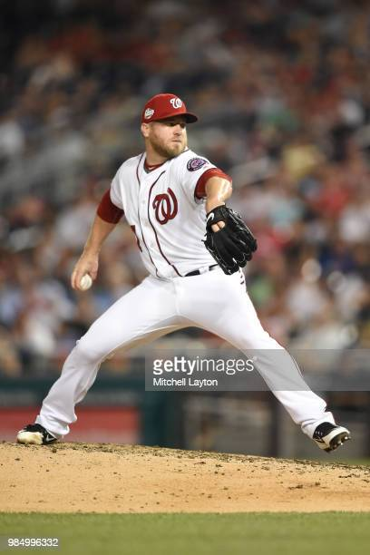Shawn Kelley of the Washington Nationals pitches during game two of a doubleheader against the New York Yankees at Nationals Park on June 18 2018 in...