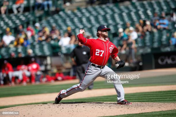 Shawn Kelley of the Washington Nationals pitches during the game against the Athletics at the Oakland Alameda Coliseum on June 4 2017 in Oakland...