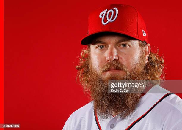Shawn Kelley of the Washington Nationals poses for a photo during photo days at The Ballpark of the Palm Beaches on February 22 2018 in West Palm...