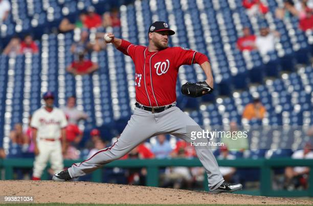 Shawn Kelley of the Washington Nationals throws a pitch during a game against the Philadelphia Phillies at Citizens Bank Park on July 1 2018 in...