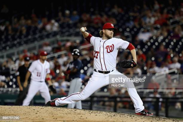 Shawn Kelley of the Washington Nationals throws to a Atlanta Braves batter in the ninth inning at Nationals Park on June 13 2017 in Washington DC