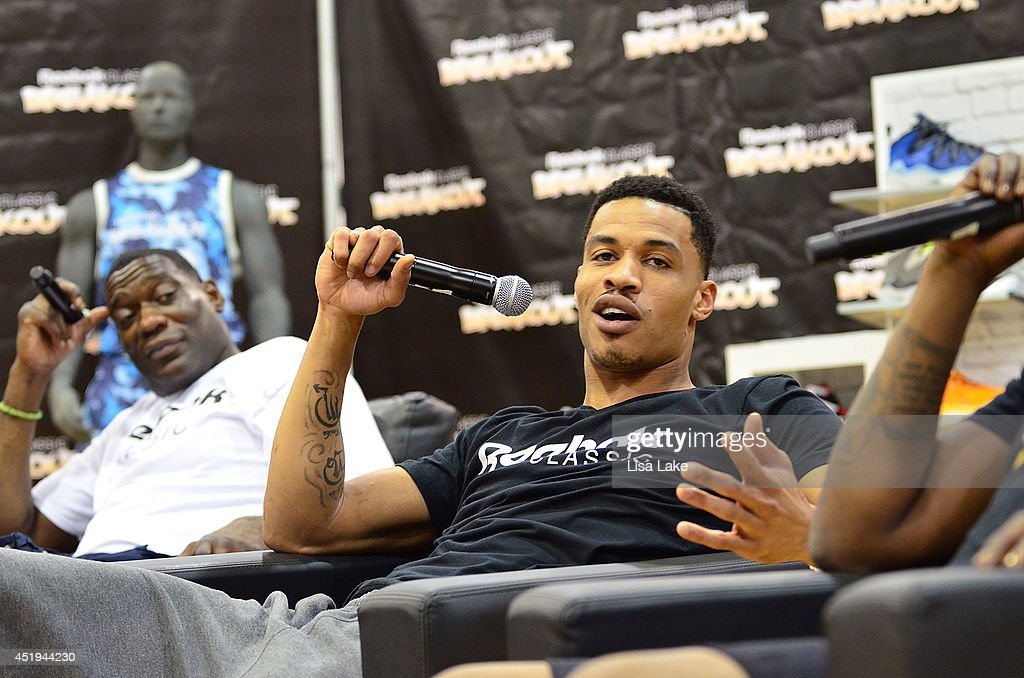 Shawn Kemp and Gerald Green at the Reebok Classic Breakout Classic Rap Roundtable at Philadelphia University on July 9, 2014 in Philadelphia, Pennsylvania.