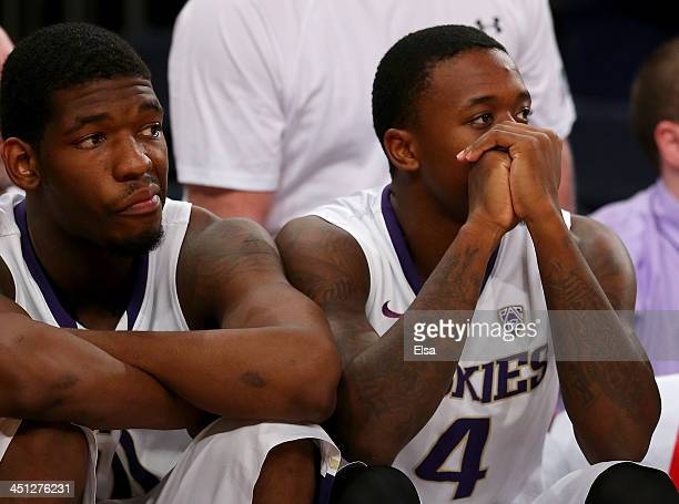 Shawn Kemp Jr #40 and Hikeem Stewart of the Washington Huskies react in the second half against the Indiana Hoosiers during the 2K Sports Classic at...