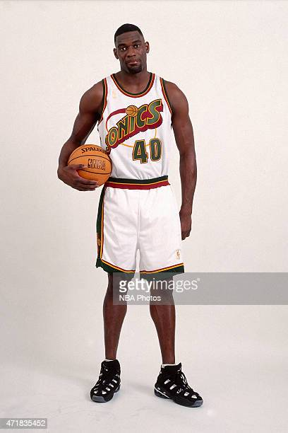 Shawn Kemp of the Seattle Super Sonics poses for a portrait circa 1996 NOTE TO USER User expressly acknowledges and agrees that by downloading and or...
