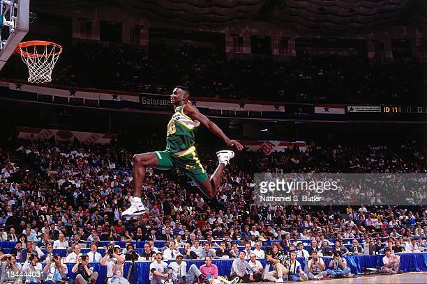 Shawn Kemp of the Seattle Supersonics attempts a dunk during the 1991 Slam Dunk Contest as part of AllStar Weekend on February 9 1991 at the...