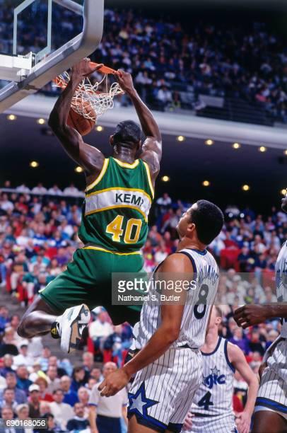 Shawn Kemp of the Seattle SuperSonics dunks against the Orlando Magic at  Orlando Arena circa 1993 7415bc17b