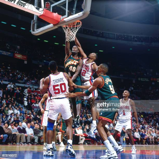 Shawn Kemp of the Seattle SuperSonics dunks during a game played on November 15 1995 at the Palace of Auburn Hills in Auburn Hills Michigan NOTE TO...