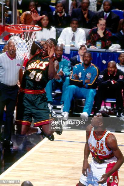 Shawn Kemp of the Seattle SuperSonics dunks during the 1997 AllStar Game on February 9 1997 at Gund Arena in Cleveland Ohio NOTE TO USER User...