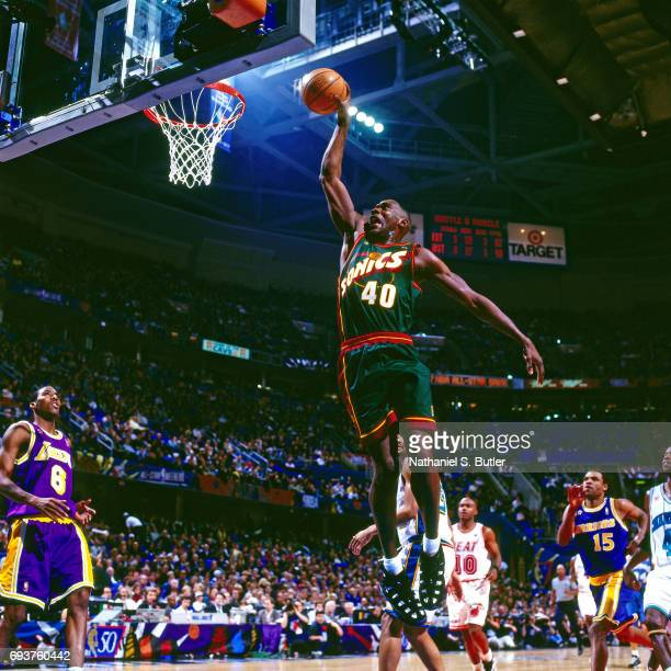Shawn Kemp of the Seattle SuperSonics goes up for a dunk during the 1997 NBA AllStar Game played on February 9 1997 at Gund Arena in Cleveland Ohio...
