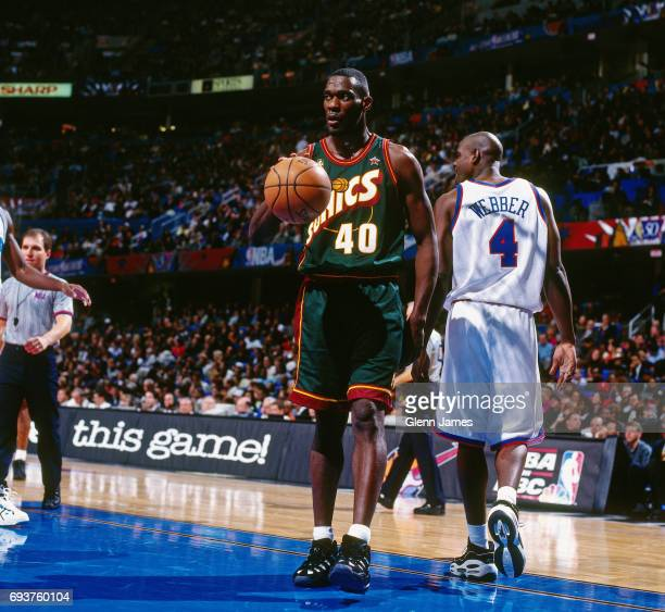 Shawn Kemp of the Seattle SuperSonics handles the ball during the game during the 1997 NBA AllStar Game played on February 9 1997 at Gund Arena in...
