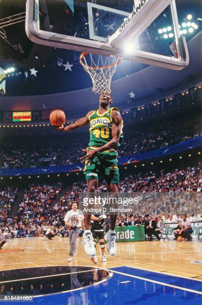 Shawn Kemp of the Seattle SuperSonics in action during the Slam Dunk Contest at the NBA All Star Weekend at Charlotte Coliseum Charlotte NC circa...