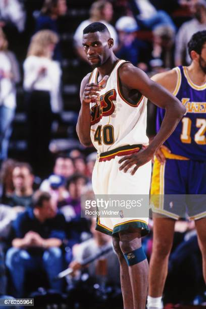 Shawn Kemp of the Seattle SuperSonics looks on against the Los Angeles  Lakers circa 1996 at bf651c187