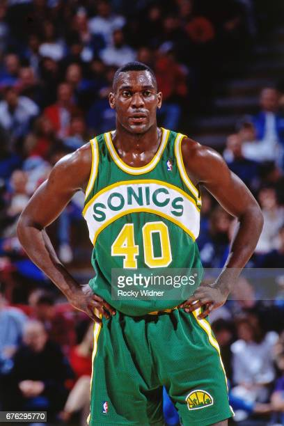 Shawn Kemp of the Seattle SuperSonics looks on against the Sacramento Kings circa 1994 at Arco Arena in Sacramento California NOTE TO USER User...
