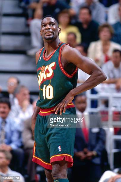 Shawn Kemp of the Seattle SuperSonics looks on circa 1996 at the Delta Center in Salt Lake City Utah NOTE TO USER User expressly acknowledges and...