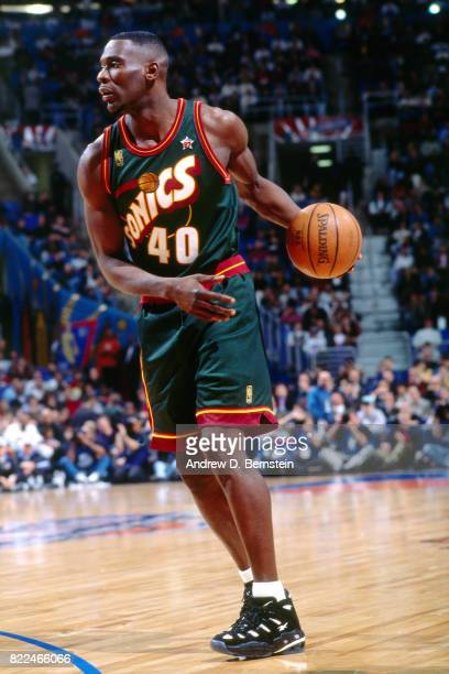 Shawn Kemp of the Seattle SuperSonics looks to pass during the 1997 AllStar Game on February 9 1997 at Gund Arena in Cleveland Ohio NOTE TO USER User...