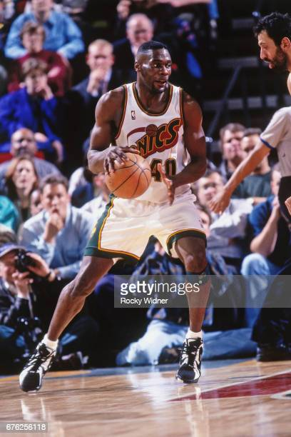 Shawn Kemp of the Seattle SuperSonics posts up against the Los Angeles Lakers circa 1996 at Key Arena in Seattle Washington NOTE TO USER User...