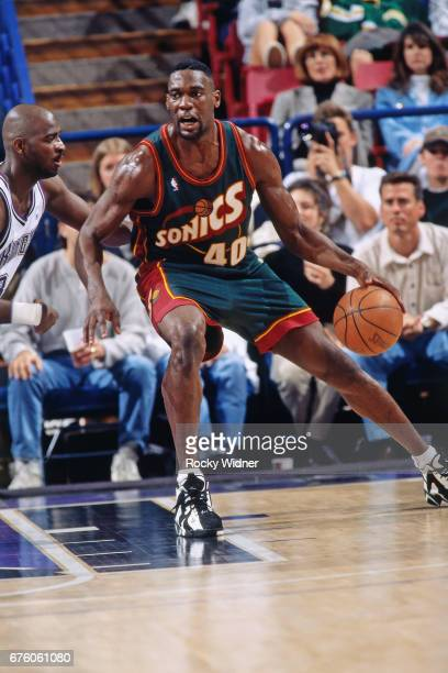 Shawn Kemp of the Seattle SuperSonics posts up against the Sacramento Kings circa 1995 at Arco Arena in Sacramento California NOTE TO USER User...