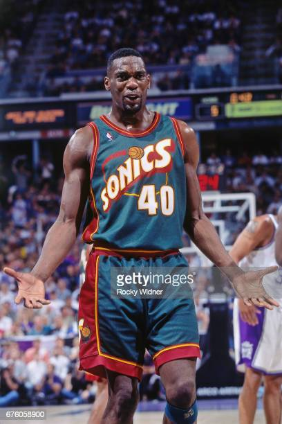 Shawn Kemp of the Seattle SuperSonics reacts against the Sacramento Kings circa 1995 at Arco Arena in Sacramento California NOTE TO USER User...