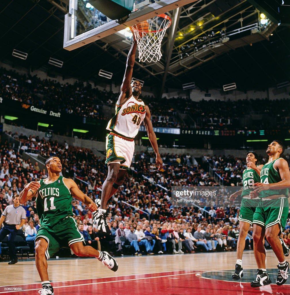 Boston Celtics v Seattle Supersonics. SEATTLE - 1996  Shawn Kemp  40 of the Seattle  Supersonics shoots against the Boston Celtics circa 1996 at Key Arena ... 5d6e5d8fb