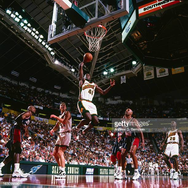 Shawn Kemp of the Seattle Supersonics shoots against the Houston Rockets during Game Six of the Western Conference Semifinals as part of the 1997 NBA...