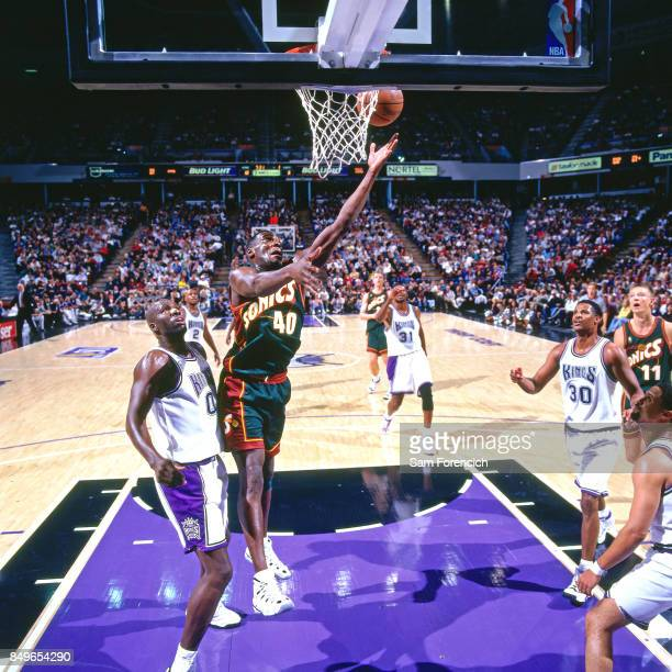 Shawn Kemp of the Seattle SuperSonics shoots circa 1996 at Arco Arena in  Sacramento California NOTE 07d163c10