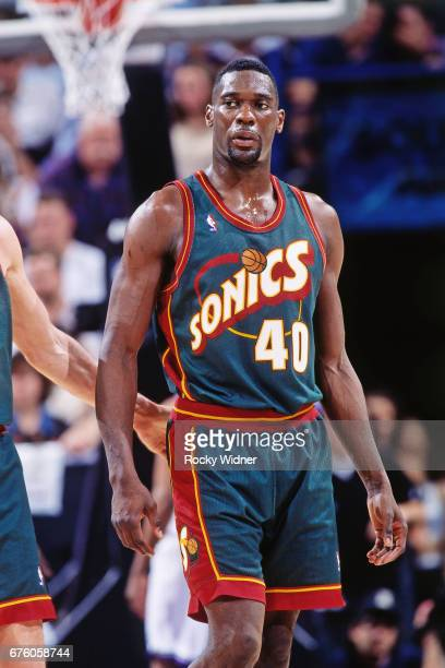 Shawn Kemp of the Seattle SuperSonics walks against the Sacramento Kings circa 1995 at Arco Arena in Sacramento California NOTE TO USER User...