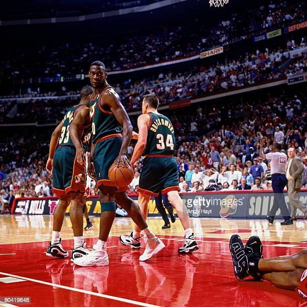 Shawn Kemp of the Seattle SuperSonics walks upcourt during Game Six of the 1996 NBA Finals against the Chicago Bulls at the United Center on June 16...