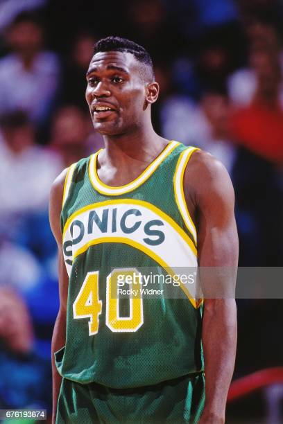 Shawn Kemp the Seattle SuperSonics looks on against the Sacramento Kings circa 1992 at Arco Arena in Sacramento California NOTE TO USER User...