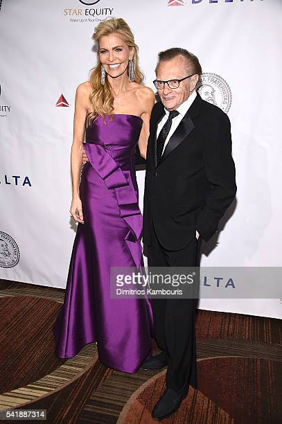 Shawn King and Larry King attend as the Friars Club Honors Tony Bennett With The Entertainment Icon Award Arrivals at New York Sheraton Hotel Tower...