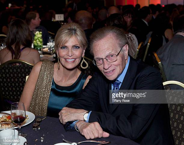 Shawn King and news anchor Larry King attend the 11th Annual Harold Pump Foundation Gala - Inside at the Hyatt Regency Century Plaza on August 3,...