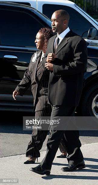 Shawn King former quarterback for coach Tony Dungy arrives for the funeral for James Dungy December 27 2005 in Tampa Florida Officials say James...