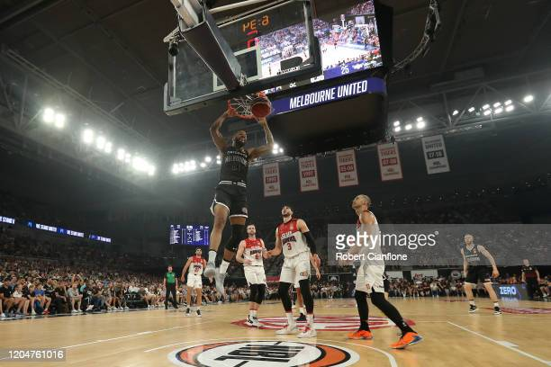 Shawn Long of Melbourne United scores during the round 19 NBL match between Melbourne United and the Illawarra Hawks at Melbourne Arena on February...