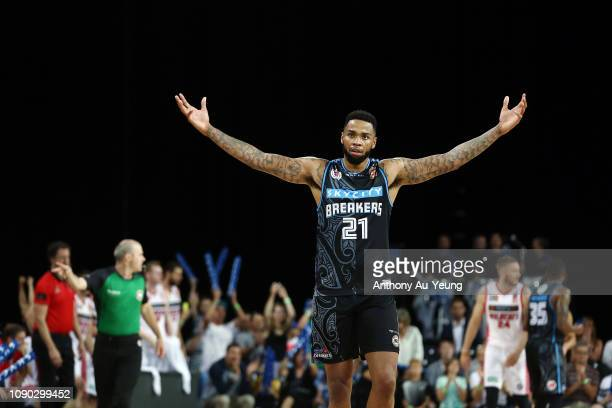 Shawn Long of the Breakers celebrates during the round 12 NBL match between the New Zealand Breakers and the Perth Wildcats at Spark Arena on January...