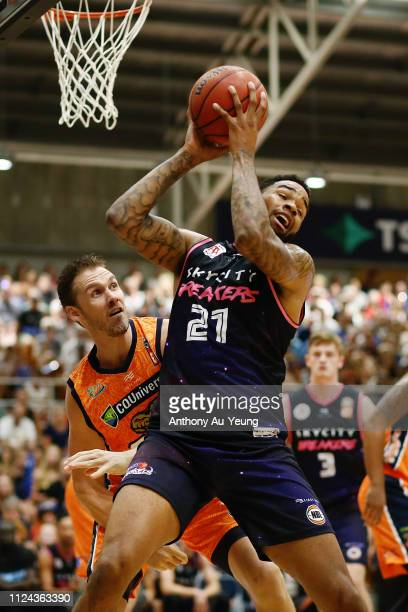 Shawn Long of the Breakers competes against Alex Loughton of the Taipans during the round 15 NBL match between the New Zealand Breakers and the...