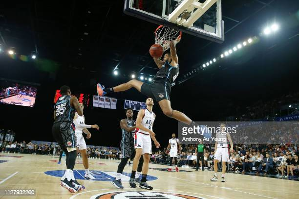 Shawn Long of the Breakers with a dunk during the round 17 NBL match between the New Zealand Breakers and the Adelaide 36ers at Spark Arena on...