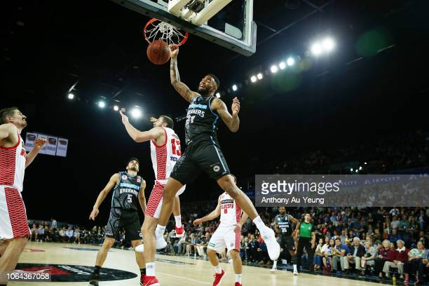 Shawn Long of the Breakers with a dunk during the round seven NBL match between the New Zealand Breakers and the Perth Wildcats at Spark Arena on...