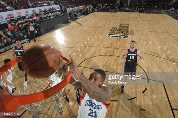 Shawn Long of the Delaware 87ers drives to the basket against the Reno Bighorns during NBA GLeague Showcase Game 26 on January 13 2018 at the Hershey...