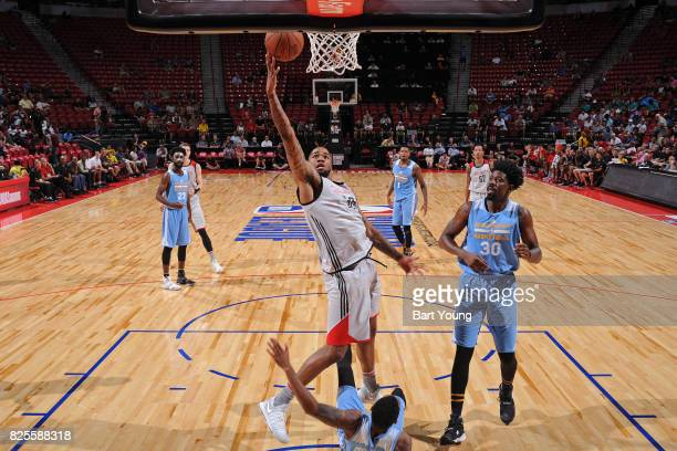 Shawn Long of the Houston Rockets drives to the basket during the 2017 Summer League game against the Denver Nuggets on July 12 2017 at the Thomas...