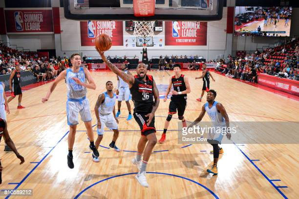 Shawn Long of the Houston Rockets shoots a lay up during the game against the Denver Nuggets during the 2017 Las Vegas Summer League on July 7 2017...