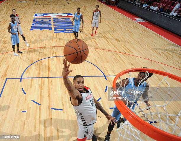 Shawn Long of the Houston Rockets shoots the ball against the Denver Nuggets during the 2017 Summer League on July 12 2017 at the Thomas Mack Center...
