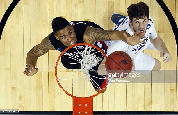 Shawn Long of the Louisiana Lafayette Ragin Cajuns handles the ball in the second half against Will Artino of the Creighton Bluejays during the...