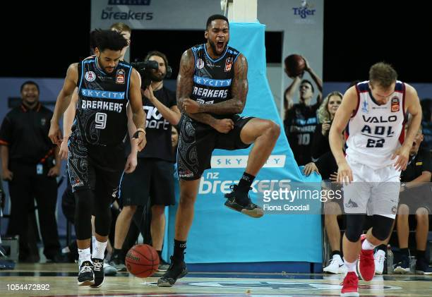 Shawn Long of the NZ Breakers celebrates with Corey Webster as they take the lead during the round three NBL match between the New Zealand Breakers...