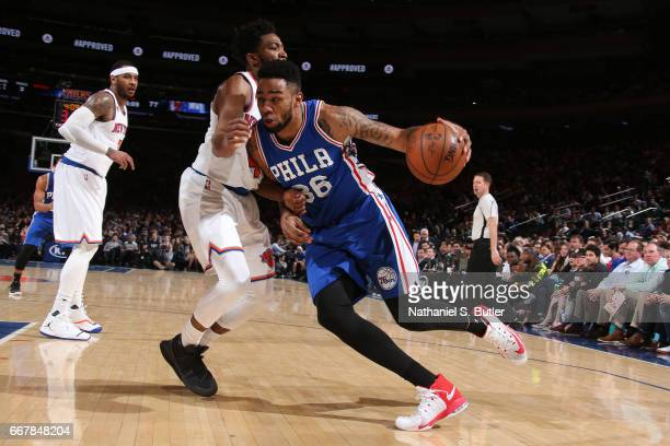 Shawn Long of the Philadelphia 76ers drives to the basket against the New York Knicks on April 12 2017 at Madison Square Garden in New York City New...