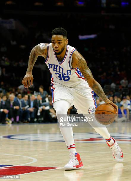 Shawn Long of the Philadelphia 76ers in action against the Brooklyn Nets in the first half during an NBA game at Wells Fargo Center on April 4 2017...