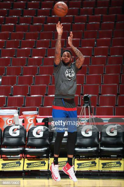 Shawn Long of the Philadelphia 76ers warms up before the game against the Chicago Bulls on March 24 2017 at the United Center in Chicago Illinois...