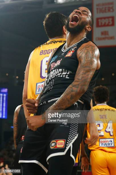 Shawn Long of United celebrates after being fouled by Andrew Bogut of the Kings whilst making a basket during game two of the NBL Semi Final Series...